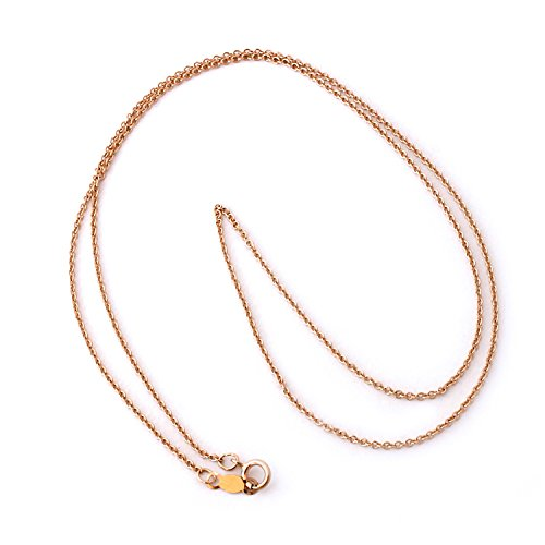 14k Rolo (14k Rose Gold 1.2mm Round Rolo Cable Chain Necklace, 18