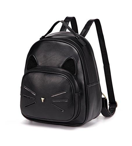 DIOMO Mini Women Backpacks Cute Cat Kids Girls Daypack Rucksack Small Bags (Mini, Black)