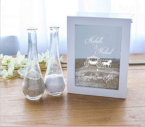 Unity Sand Shadow Box with Side Vases Personalized Beach Wedding Ceremony Happily Ever After Fairytale Princess Carriage Bride Groom Names White (Crystal Vase Personalized)
