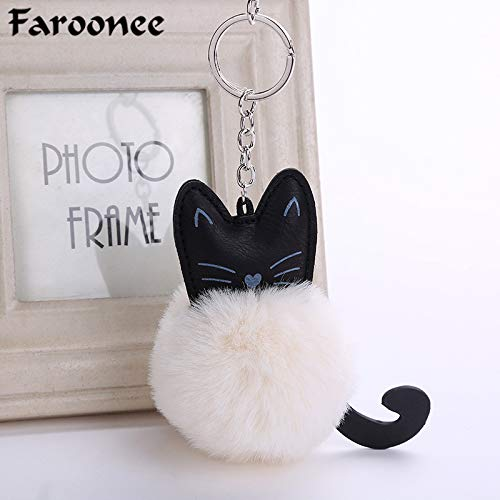 Amazon.com: Rarido Lovely Cartoon Cat Fluffy Fur Ball Key ...