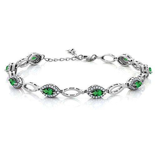 Gem Stone King 3.26 Ct Marquise Green Simulated Emerald 925 Sterling Silver Bracelet 7inches+1inches