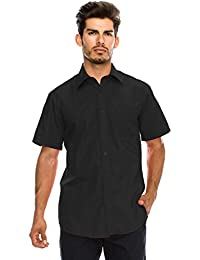 Men's Regular-Fit Solid Color Short Sleeve Dress Shirts (Big Size Available)