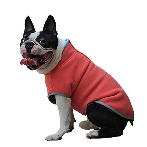 - Petea Dog Cat Fleece T-Shirt Coats Autumn Winter Cold Weather Dog Clothes Pet Puppy Pullover Fleece Sweater for Dogs and Cats (S, Orange)