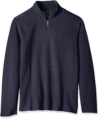 (G.H. Bass & Co. Men's Sueded Fleece Long Sleeve Quarter Zip, Night Sky Heather, X-Large)