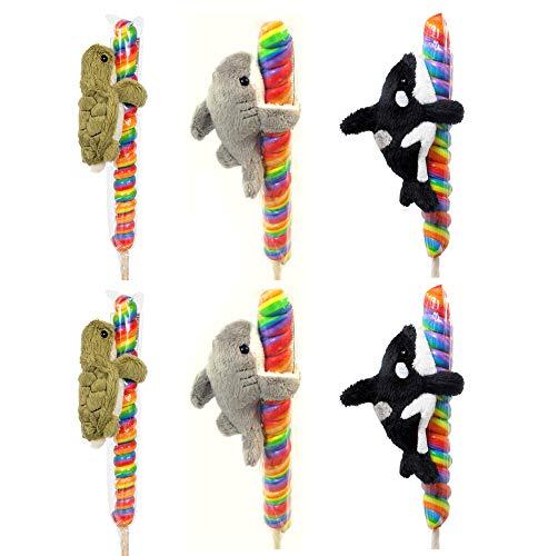 (Wishpets Sealife Bundle of Six: Two each Turtle Shark Orca Whale - Plush on Candy Twist Stick)