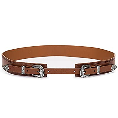 Tanpie Western Leather Belt for Women Boho Waist Belt with Designer Metal Double Buckle