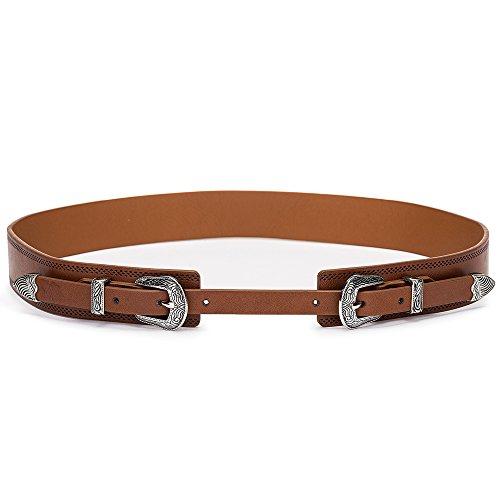 Tanpie Western Leather Belt for Women Boho Waist Belt with Designer Metal Double Buckle Yellow Brown L
