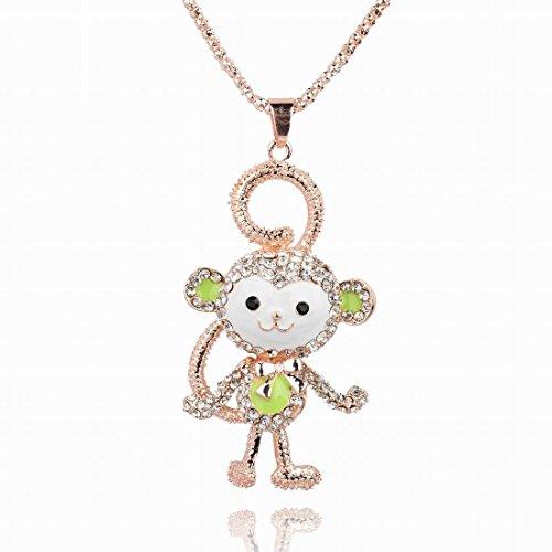 3D Stereo Gem 14K Rose GP Enamel Crystal Sweater Lime Pendants Monkey Coat Necklaces