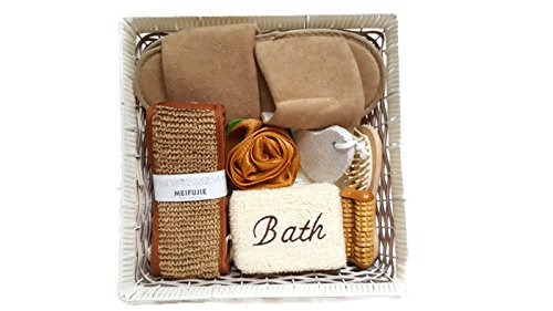 Bath-Body Gift Set Woven Basket, Sandals, Loofah, Scrubbies, Pumich stone and Massagers (White)
