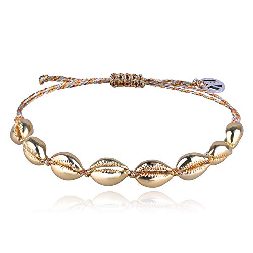 - KELITCH Gold Conch Shell Beads Bracelet Handmade Bohemia Cowry Charm Beach Weaving Anklet Fashion Jewelry for Girls/Men(Fun in The Sun A