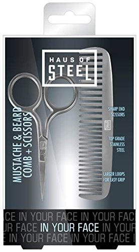 Pacific World Corporation In Your Face Men's Mustache Comb and Scissors, 2 Ounce