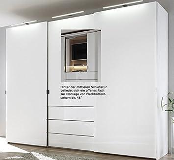 Staud Media Kleiderschrank mit TV Fach weiß Breite 280 cm: Amazon.de ...