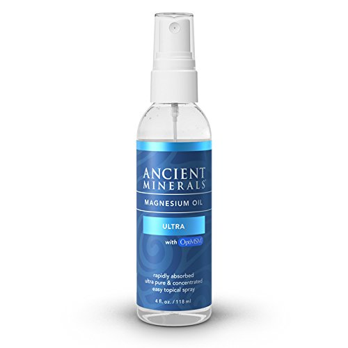 Ancient Minerals Magnesium Oil Ultra with OptiMSM 4 oz. - Pure Genuine Zechstein Magnesium Chloride Supplement with MSM - Best Topical Skin Application for Dermal Absorption
