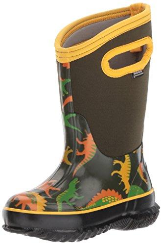 Bogs Kids' Classic High Waterproof Insulated Rubber Neoprene Rain Boot Snow, Dino Print/Moss/Multi, 10 M US - Multi Green Generations