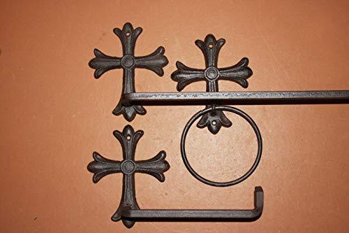 Southern Metal Spanish Mission Cross Bath Set Towel Rack Ring Toilet Paper Holder Bundle 3 Pieces