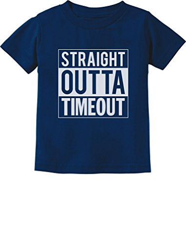 TeeStars - Straight Outta Timeout Funny Toddler/Infant Kids T-Shirt 4T Navy (Tee Toddler School)