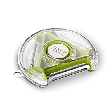 Joseph Joseph PEBG0100CB Rotary Peeler Compact 3-in-1 Blades Standard Serrated Julienne Potato Eye Remover Plastic Dishwasher-Safe, Green