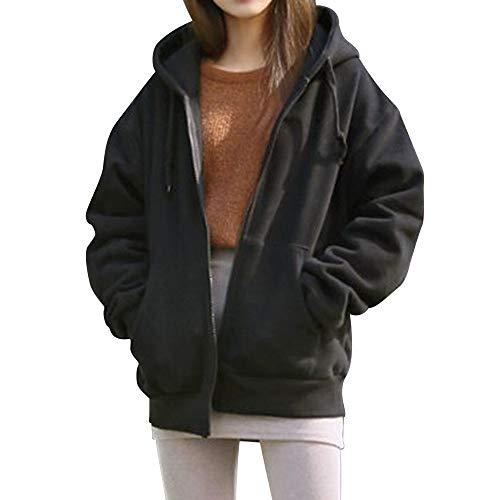 Jocome Coat,Women Jacket Casual Hooded Fleece Loose Pockets Solid Coat