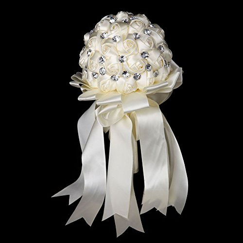 Ivory Rose Bridal Bouquet (FAYBOX Crystal Satin Rose Bridal Bridesmaid Bouquets Wedding Flower Decor Ivory)