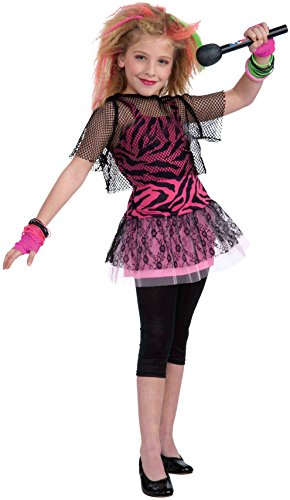 Pop Star Diva Costume (Forum Novelties 80's Rock Star Child Girl's Costume, Large)