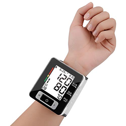 Wrist Blood Pressure Monitor Fully Automatic Digital Blood Pressure Cuff FDA Approved Electric Portable BP Monitor with LCD Display and Memory Storage Function for 2 Users (Black, Wrist)