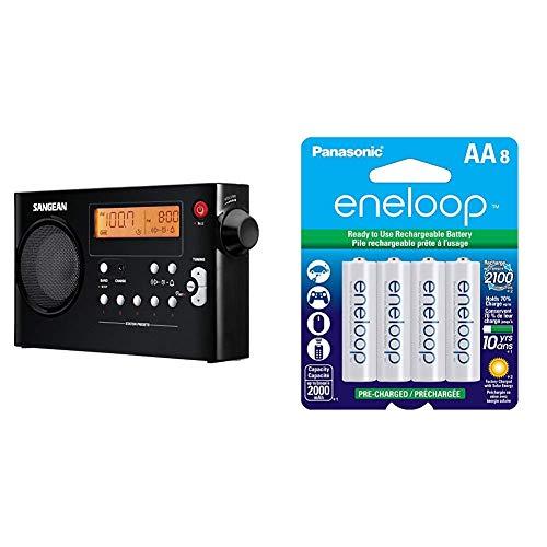 Sangean PR-D7 BK AM/FM Digital Rechargeable Portable Radio - Black & Panasonic BK-3MCCA8BA eneloop AA 2100 Cycle Ni-MH Pre-Charged Rechargeable Batteries, 8 Pack