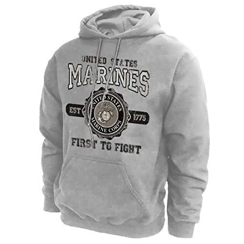 Joe Blow Marines Medium Marines Hooded Sweatshirt Sp Grey Adult Men's Women's Long Sleeve Hooded Sweatshirt