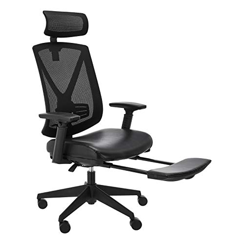 AmazonBasics Ergonomic High-Back Reclining Mesh Office Chair - Bonded Leather Seating with Adjustable Lumbar Support, Black