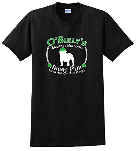 Dog Owner Gifts St Patricks Day Dog English Bulldog Irish Pub Sign T-Shirt 2XL Black