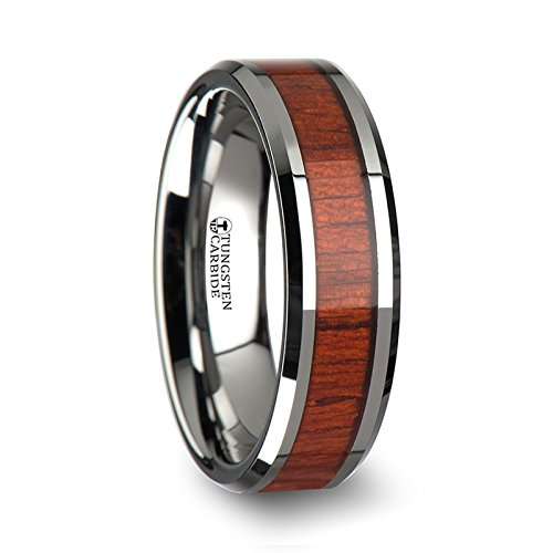 NARRA Tungsten Wood Ring with Polished Bevels and Padauk Real Wood Inlay - 6 mm