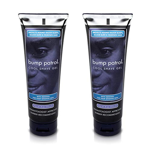 Bump Patrol Cool Shave Gel - Sensitive Clear Shaving Gel With Menthol Prevents Razor Burn, Bumps, Ingrown Hair - 4 Ounces 2 Pack ()