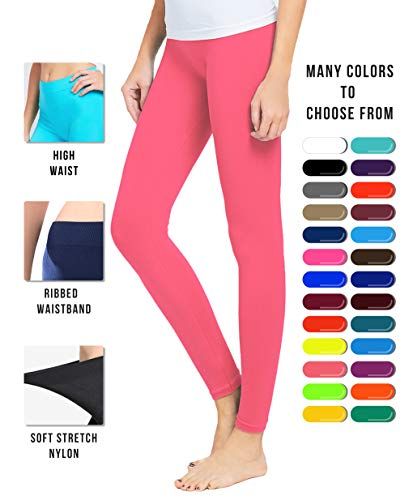 - Basic Solid Full Length Footless Tights Leggings Pants - Nylon Premium Quality (One Size (Size 2-10), LG07 Coral Fusion)