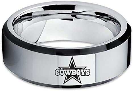 Silly Kings Dallas Cowboys Wedding Band,Dallas Cowboys Tungsten Ring,Blue Tungsten Ring,8mm Wedding Band,Comfort fIT