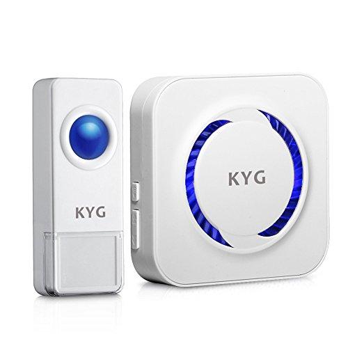 KYG Tragbare Wireless Wasserdicht Türklingel,Door Bell, Funkklingel Set, 52 Klingeltöne, 300m Reichweite(1 Sender 1 Empfänger,LED blinkt,Weiß)