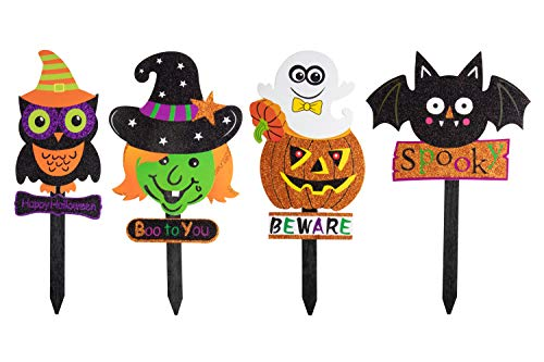 Juvale Halloween Yard Sign Stakes - 4-Pack Happy Halloween Outdoor Lawn Decoration, Pumpkin, Bat, Owl Witch Design, Halloween Party Favors by Juvale