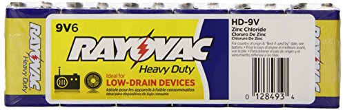 Rayovac Size 9V Heavy Duty Batteries, HD-9VD, 6-Pack
