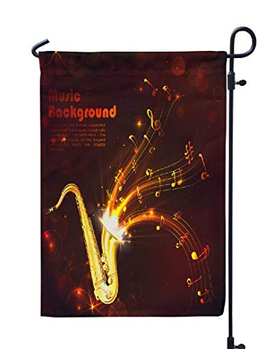 (Soopat Jazz Music Seasonal Flag, Wavy Music Tune Saxophone Jazz Music Music Saxophone Weatherproof Double Stitched Outdoor Decorative Flags for Garden Yard 12''L x 18''W Welcome Garden Flag)