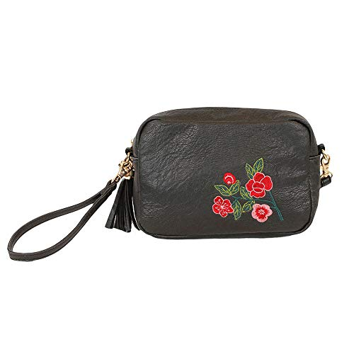 H negro w X Mujer Cm Flores Bandolera Time L 6x14x18 Bolso For qxnOvHwAX