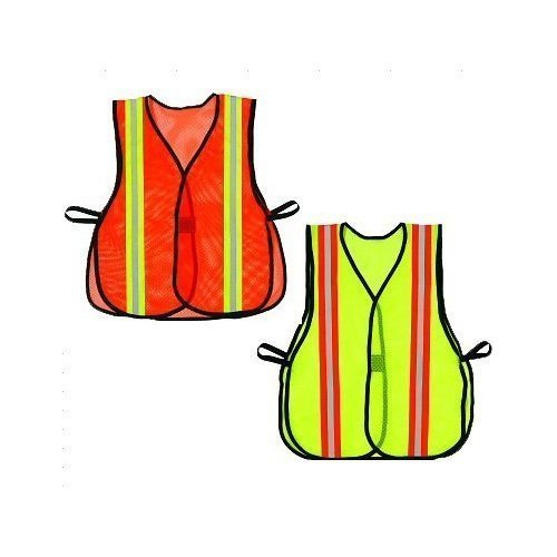 Boston Industrial Lime Green Safety Vest with Reflective Strips, 10-pack