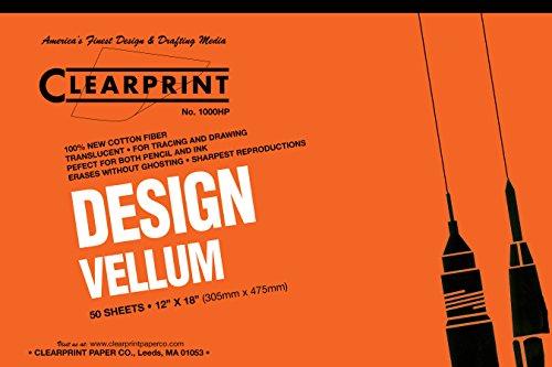 Clearprint 1000H Design Vellum Pad, 16 lb, 100% Cotton, 12 x 18 Inches, 50 Sheets, Translucent White, 1 Each (10001418) ()