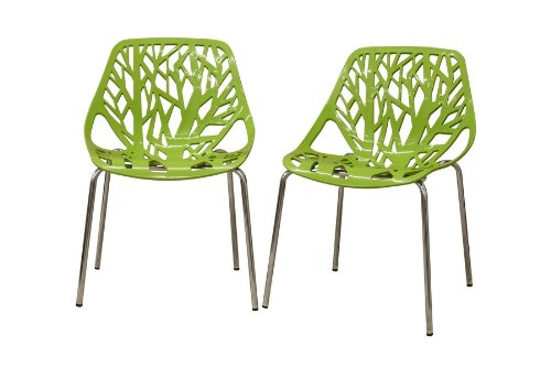 Poly and Bark Birds Nest Dining Side Chair (Set of 2), Green (Green Plastic Outdoor Chairs)