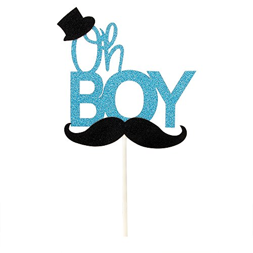 Blue Glitter Oh Boy Cake Topper with Black Hat and Mustache, Gender Reveal Cake Topper, Baby Boy Shower, Birthday Party Decorations -