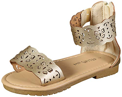 dELiA*s Girls Gladiator Style Sandals with Metallic Perforated Butterfly Details, Gold, Size 9 M US Toddler