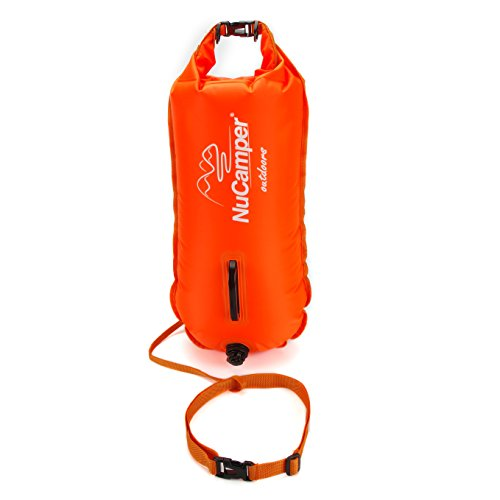 NuCamper 28L Inflatable Swim Buoy Waterproof Floating Drybag for Safe Swimming, Snorkeling, Kayaking, Water Diving, Training