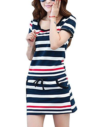 Bininbox Coton À Manches Courtes Mince Femmes Bande Sport Casual Robe Col Rond Bleu Blanc Rouge