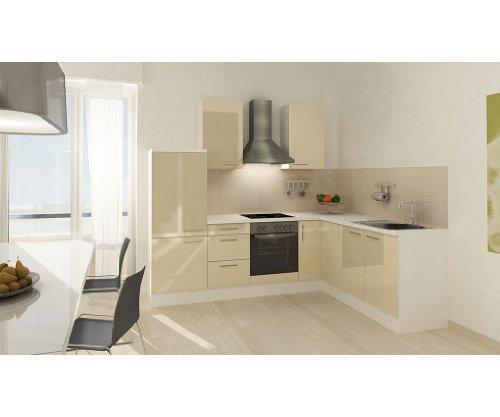 respekta Küchenleerblock Premium L-Küche 260 x 200 cm Korpus Weiß Fronten Vanille Hochglanz