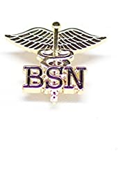 BSN Letters on Caduceus Emblem Pin (Bachelors of Science in Nursing)
