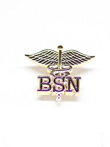 WIZARDPINS BSN Letters on Caduceus Emblem Pin (Bachelors of Science in Nursing) (5 pins)