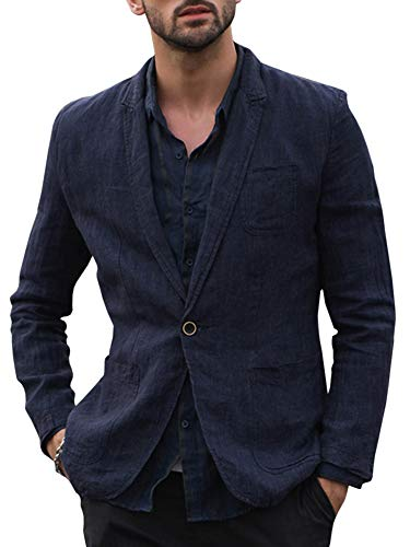 - Mens Linen Lightweight Two Button Blazer Suits Notched Lapel Casual Jacket Slim Fit Sport Coat (Medium, A-Navy Blue)