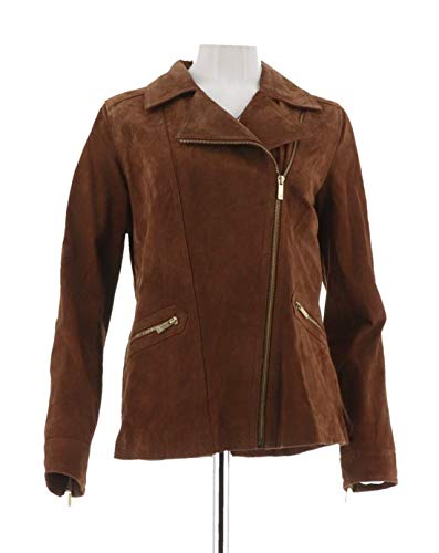 Dennis Faux Suede Basso (Dennis Basso Washable Suede Long SLV Motorcycle Jacket Walnut XXS New A256514)